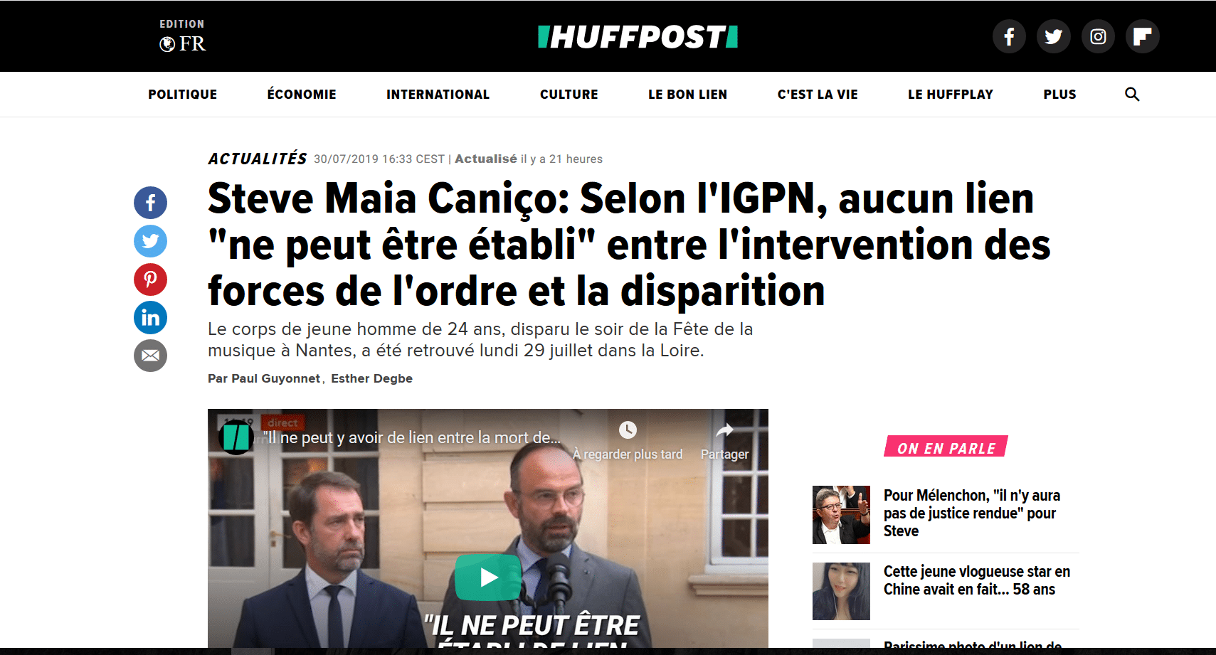Noyade de Steve Canico dans la Loire : Qui craint le grand méchant « LOURD » Castaner?