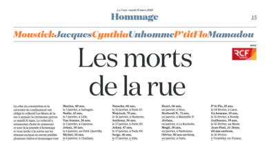569 personnes sont mortes dans la rue en 2019 en France