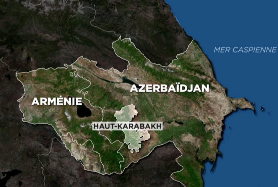 Carte du conflit entre l'Arménie et l'Azerbaïdjan